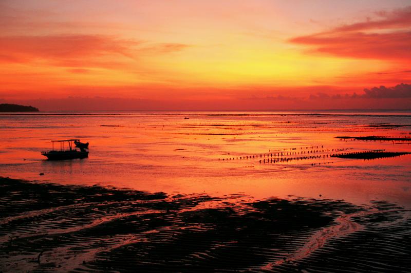 Solnedgang, lavvann